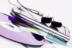 PDA, hoofdtelefoons en CDs stock foto's
