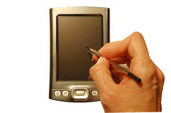PDA met hand en naald Stock Afbeelding