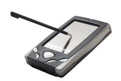 PDA mit dem Stift berührt zum Bildschirm stockbild