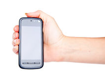 PDA phone in hand Royalty Free Stock Photography