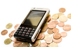 PDA phone and money Royalty Free Stock Photos