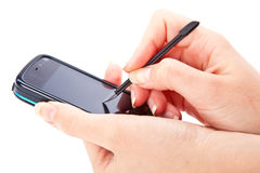 PDA phone with stylus Royalty Free Stock Photos