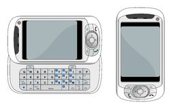 PDA phone vector illustration. Generic pearl white PDA mobile phone with slide out keyboard vector illustration vector illustration
