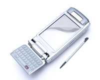 PDA with stylus and flip keyboard on white backgro Royalty Free Stock Photo