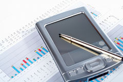 PDA sulla priorità bassa finanziaria del diagramma del mercato Immagine Stock Libera da Diritti