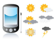 Pda and weather symbols. Illustration of pda, pocket pc, smart phone, with symbols of weather Royalty Free Stock Images