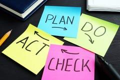 PDCA-het plan controleert geschreven handeling op memorandumstokken stock afbeelding