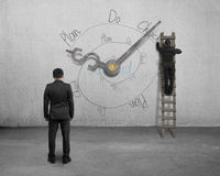 PDCA infinite loop doodle with clock hands and businessmen Stock Photography