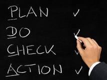 PDCA schema written on blackboard by businessman Stock Image