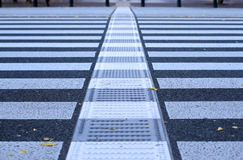 Pdestrian crossing abstract. Very low perspective and selective focus of a pedestrian crossing generating an interesting urban abstract Royalty Free Stock Photo