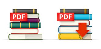 PDF books stacks  icons. PDF icons, stack of books and download button, vector illustration Royalty Free Stock Photos