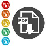 PDF digital document file format flat  icon, Vector pdf download symbol. Simple  icons set Royalty Free Stock Photos