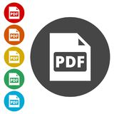 PDF digital document file format flat  icon, Vector pdf download symbol. Simple  icons set Stock Image
