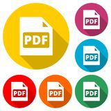 PDF digital document file format flat vector icon, Vector pdf download symbol, color icon with long shadow. Simple vector icons set Stock Image