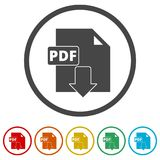 PDF digital document file format flat vector icon, Vector pdf download symbol, 6 Colors Included. Simple vector icons set Stock Images
