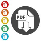 PDF digital document file format flat vector icon, Vector pdf download symbol. Simple vector icons set Royalty Free Stock Image