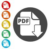 PDF digital document file format flat vector icon, Vector pdf download symbol. Simple vector icons set Stock Photos
