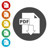 PDF digital document file format flat vector icon, Vector pdf download symbol. Simple vector icons set Stock Image