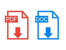 Pdf DOC dos ícones do resumo Fotografia de Stock