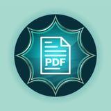 PDF document page icon magical glassy sunburst blue button sky blue background. PDF document page icon isolated on magical glassy sunburst blue button sky blue vector illustration