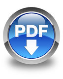 PDF download icon glossy blue round button Royalty Free Stock Photography