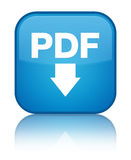 PDF download icon special cyan blue square button Royalty Free Stock Images