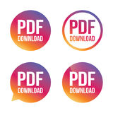 PDF download icon. Upload file button. Load symbol. Gradient buttons with flat icon. Speech bubble sign. Vector Stock Photos