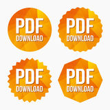 PDF download icon. Upload file button. Load symbol. Triangular low poly buttons with flat icon. Vector Stock Images