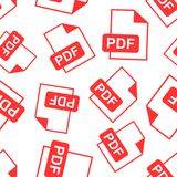 PDF download seamless pattern background. Business flat vector i. Llustration. PDF format board sign symbol pattern Royalty Free Stock Photo