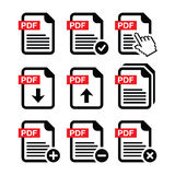 PDF download and upload icons set. PDF document  icons set isolated on white Royalty Free Stock Photo