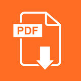 PDF download vector icon. Simple flat pictogram for business, ma. Rketing, internet concept. Vector illustration on orange background Royalty Free Stock Photography