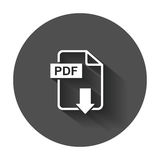 PDF download vector icon. Simple flat pictogram for business, marketing, internet concept. Vector illustration with long shadow Royalty Free Stock Photography