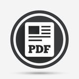 PDF file document icon. Download pdf button. PDF file symbol. Circle flat button with shadow and border. Vector Stock Photos