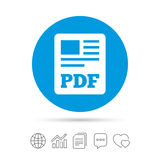 PDF file document icon. Download pdf button. PDF file symbol. Copy files, chat speech bubble and chart web icons. Vector Royalty Free Stock Photography