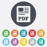 PDF file document icon. Download pdf button. PDF file symbol. Round colourful 11 buttons Royalty Free Stock Image