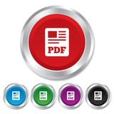 PDF file document icon. Download pdf button. PDF file symbol. Round metallic buttons Stock Image
