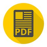 PDF file document icon with long shadow. Vector icon Stock Photos
