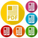 PDF file document icons set with long shadow Royalty Free Stock Image