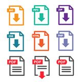 PDF file download icon. Document text, symbol web.  Stock Images