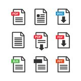 PDF file download icon. Document text, symbol web. Document icon. Set Royalty Free Stock Photos