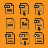 PDF file download icon. Document text, symbol web format informa Stock Images