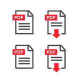 PDF file download icon. Document text, symbol web format information,  illustration. PDF file download icon. Document text, symbol web format information Royalty Free Stock Photography