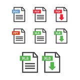 PDF file download icon. Document text, symbol web format informa. Tion Stock Photography