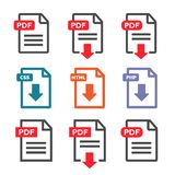 PDF file download icon. Document text, symbol web.  Stock Photos
