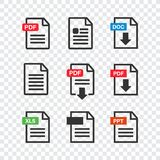PDF file download icon. Document text, symbol web. Document icon. Set Stock Image