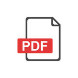 PDF file download icon. Flat vector.  Royalty Free Stock Photo