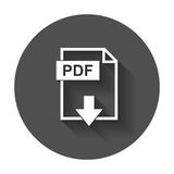 PDF file download icon. Flat vector with long shadow Royalty Free Stock Photos