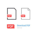 PDF file download icon set. Document symbol. Flat style. Line design. Stock Image