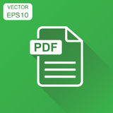 PDF format download icon. Business concept pdf pictogram. Vector. Illustration on green background with long shadow Stock Images