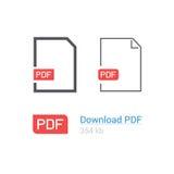 PDF-het pictogramreeks van de dossierdownload Documentsymbool Vlakke stijl Het Ontwerp van de lijn Stock Afbeelding